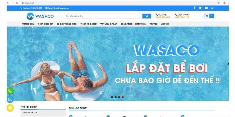 giao diện website của wasaco