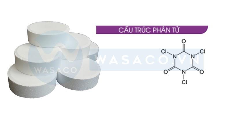 Cấu trúc phần tử hóa chất bể bơi Clo viên 200 gam