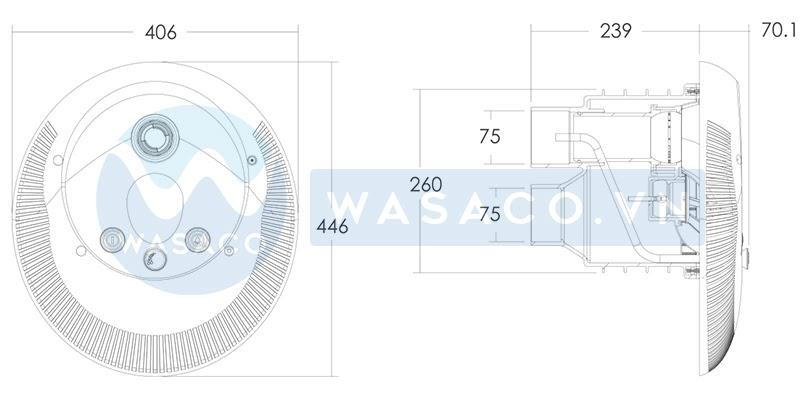 Kích thước đầu bơi ngược dòng EM0055