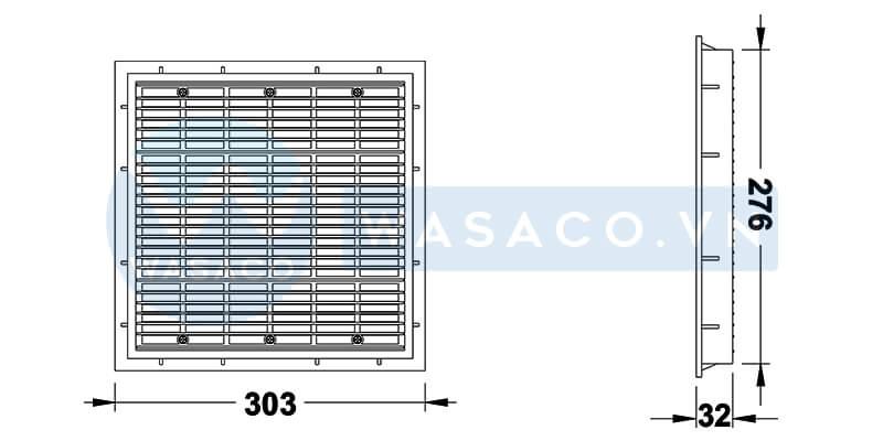Nắp thu đáy hình vuông SP1032
