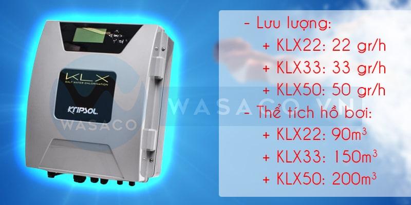Thông số bộ điện phân muối clo KLX
