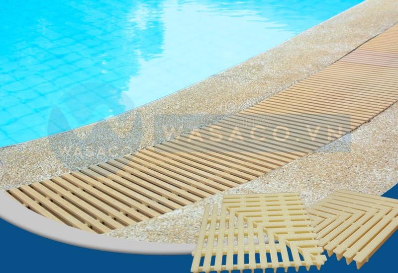 Ứng dụng góc thanh thoát tràn bể bơi